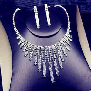 Luxury Rhinestone Set Earrings Necklace Wedding